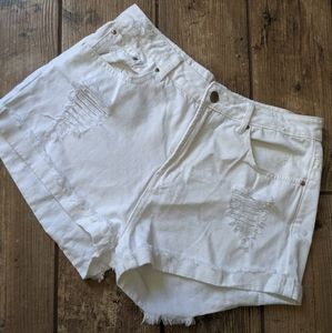 Forever 21 | High Waisted Distressed White Shorts